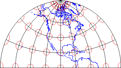 Polyconic map projection with ellipses that illustrate distortion pattern characteristic of a compromise projection