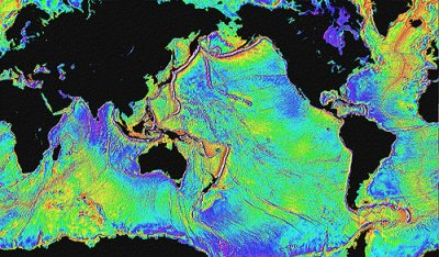 Satellite image showing global bathymetry predicted from sea surface elevations