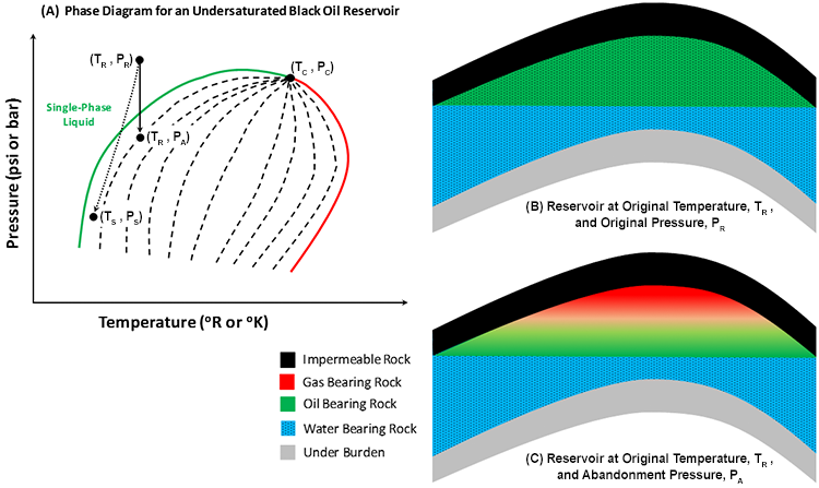 phase diagram and cross sections of an undersaturated black oil reservoir  described in the text below