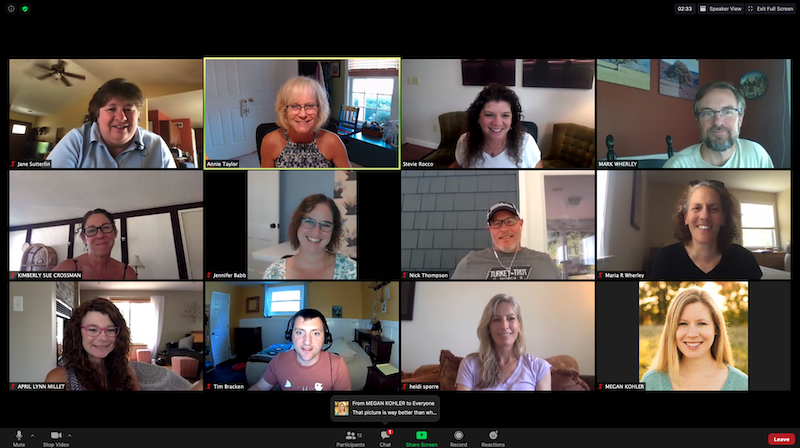 Screen shot of a Zoom call with members of the Dutton Institute learning design team