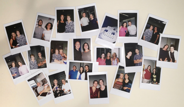 Polaroids of various Dutton Institute personnel