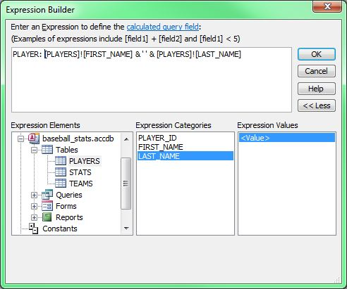 Screen capture of Expression Builder Elements an